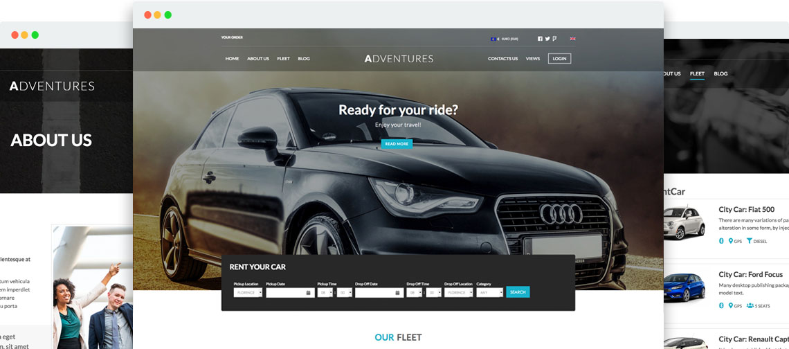 Adventures - Templates for Joomla Car Rental