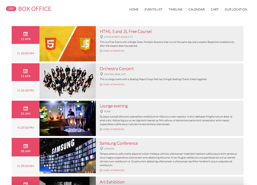 Boxoffice Template - Vik Events views