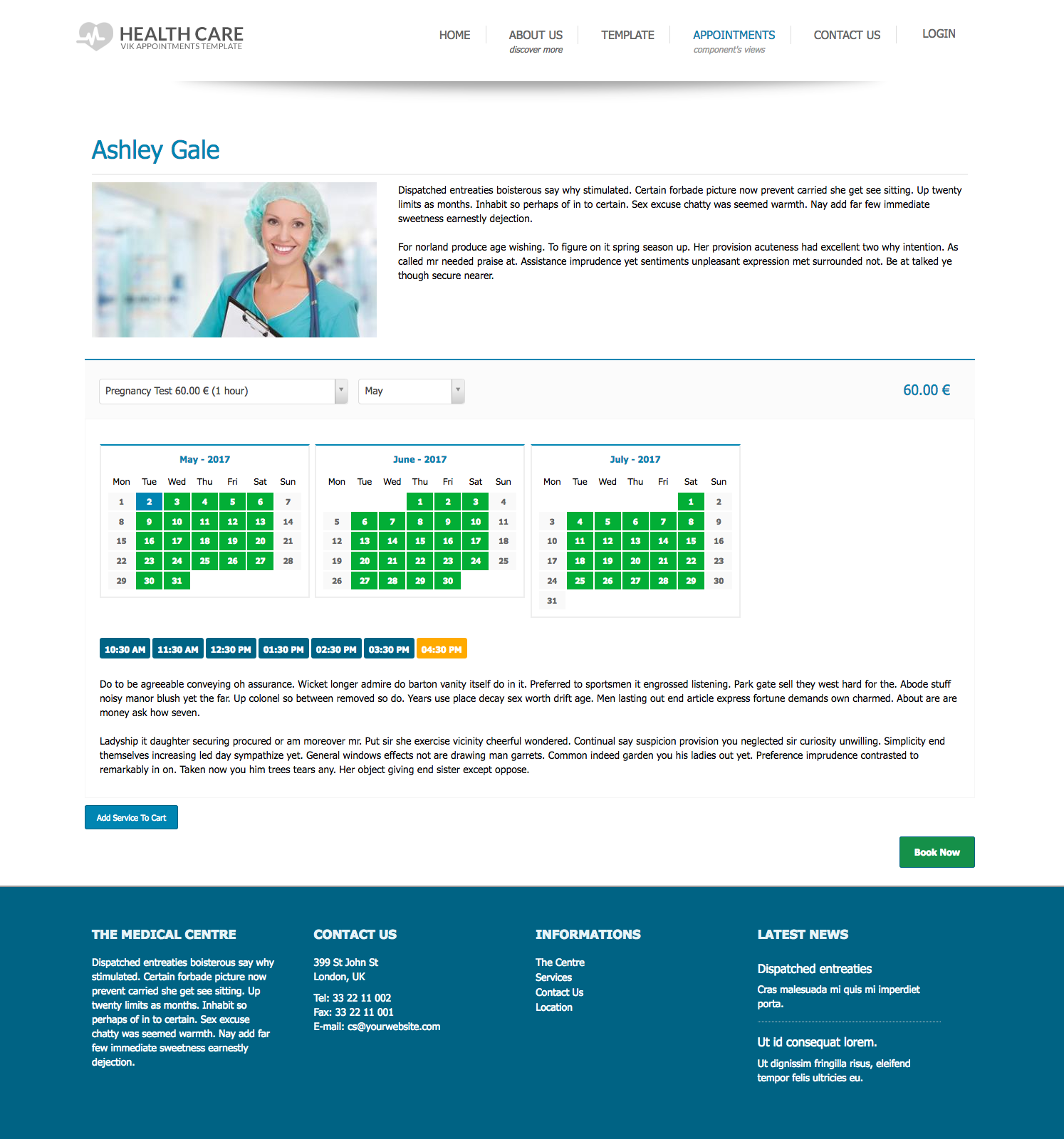 Healthcare Template - Vik Appointments view