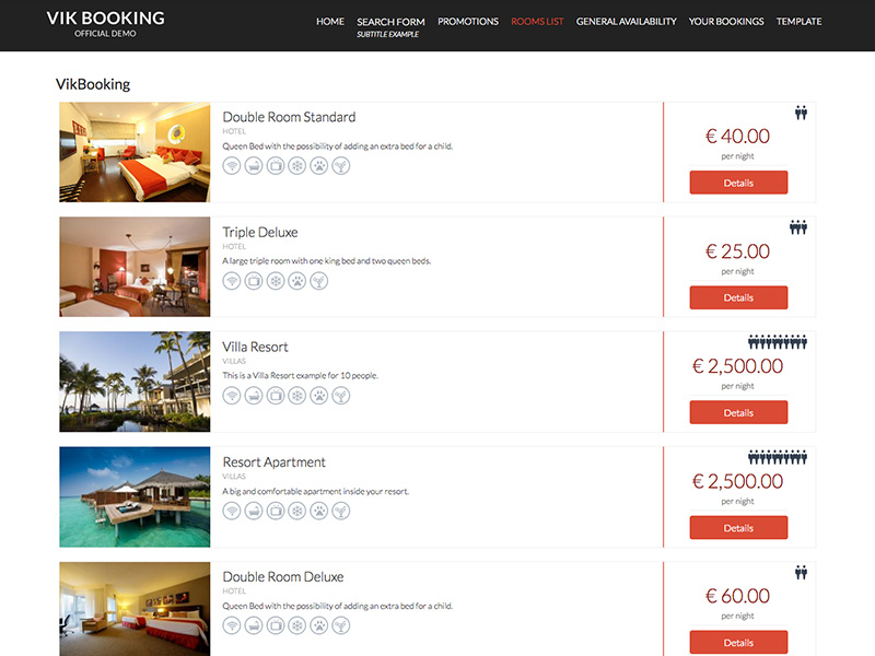 Hotelier Template Vik Booking views