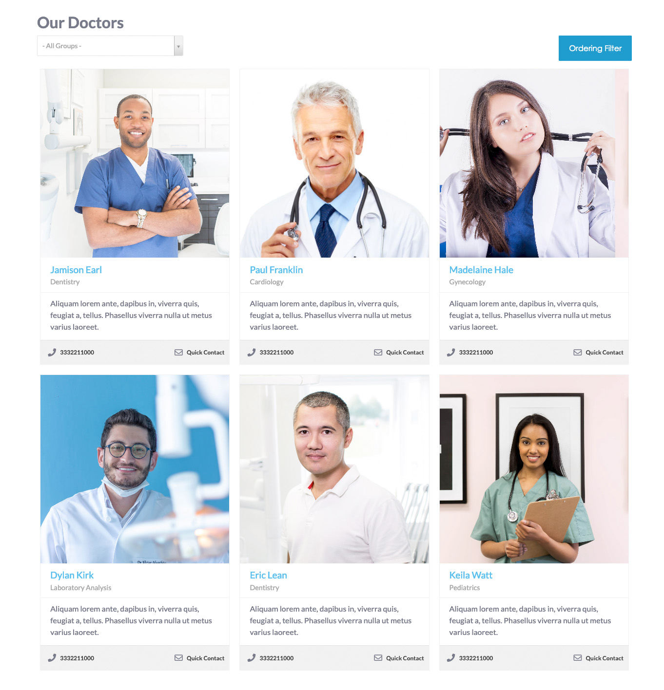 MediCenter Template - VikAppointments Employees List page