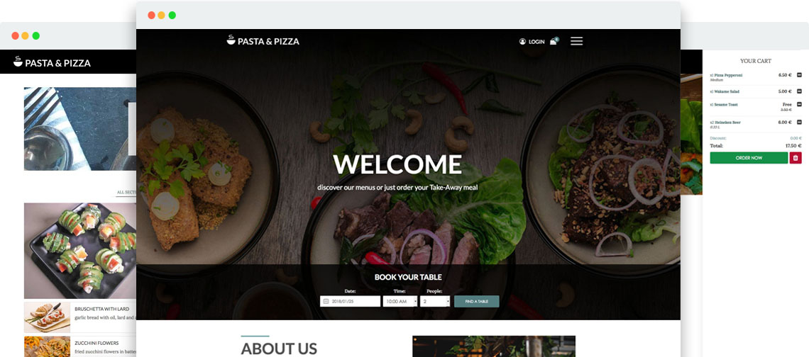 joomla pasta pizza template for vik restaurants websites