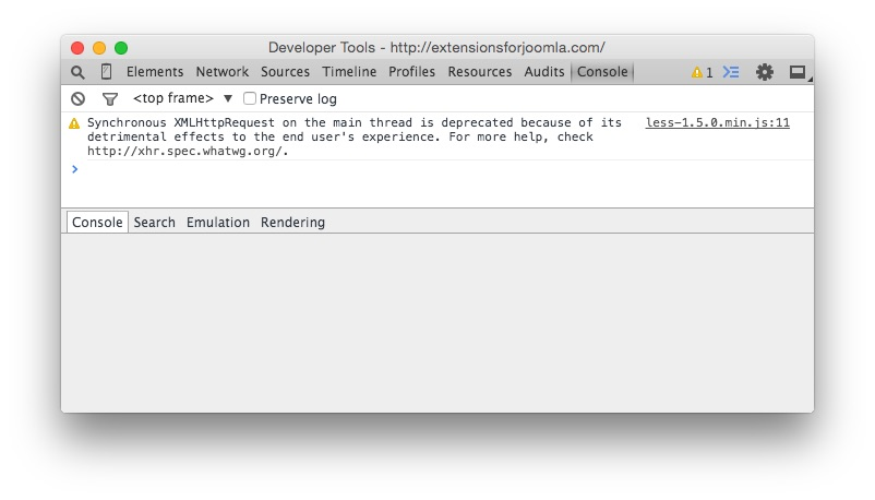 Chrome Developer console