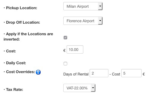 Vik Rent Car - Locations Additional Fees