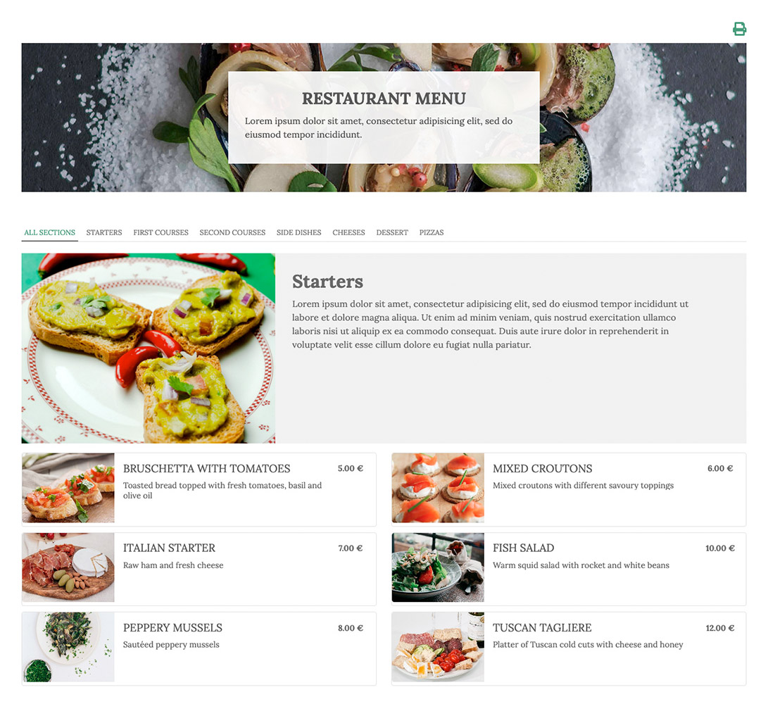 Create your restaurant menu on Joomla